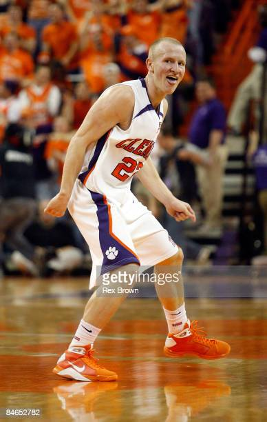 Terrence Oglesby of the Clemson Tigers reacts after a score against the Duke Blue Devils at Littlejohn Coliseum on February 4 2009 in Clemson South...