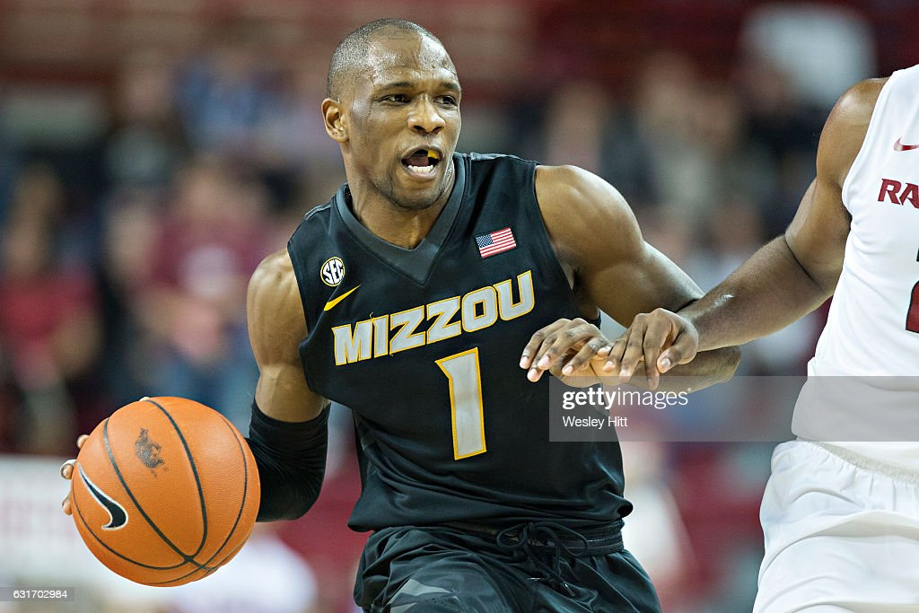 Terrence Phillips #1 of the Missouri Tigers drives down the court during a game against the Arkansas Razorbacks at Bud Walton Arena on January 14, 2017 in Fayetteville, Arkansas. The Razorbacks defeated the Tigers 92-73.