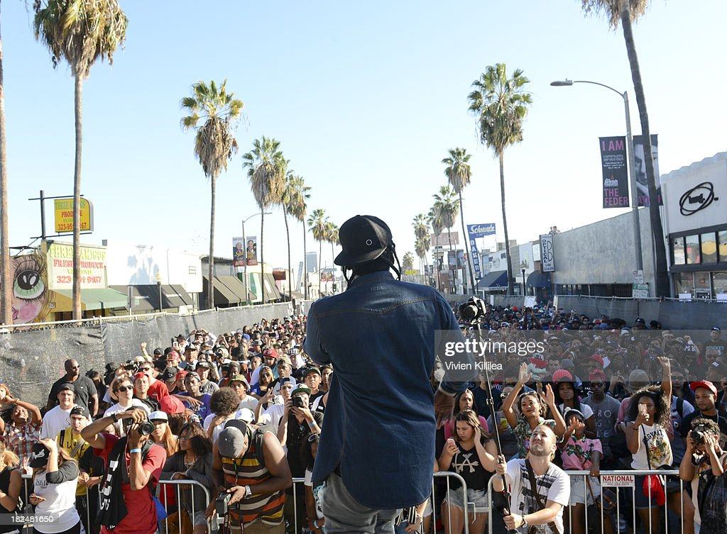 Terrence '<a gi-track='captionPersonalityLinkClicked' href=/galleries/search?phrase=Pusha+T&family=editorial&specificpeople=3994271 ng-click='$event.stopPropagation()'>Pusha T</a>' Thornton performs at Welcome To The Block presented by Crooks & Castles and Diamond Supply Co on September 29, 2013 in Los Angeles, California.