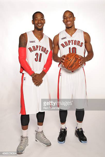 Terrence Ross and DeMar DeRozan of the Toronto Raptors pose for a photo during Media Day at the Air Canada Centre in Toronto Ontario Canada on...