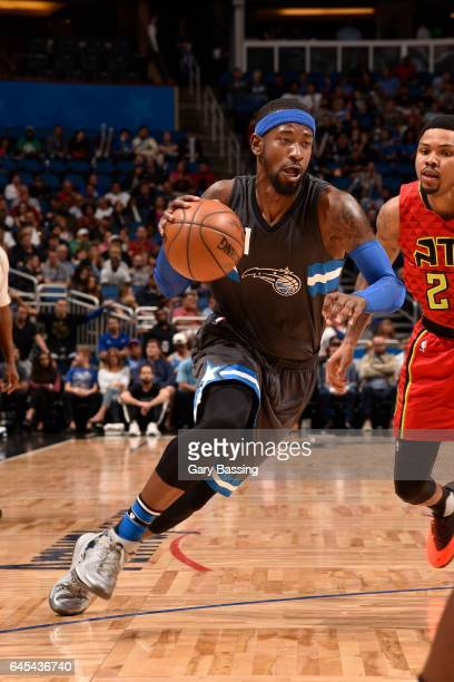 Terrence Ross of the Orlando Magic drives to the basket against the Atlanta Hawks on February 25 2017 at the Amway Center in Orlando Florida NOTE TO...