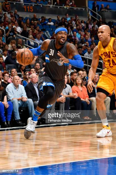 Terrence Ross of the Orlando Magic drives to the basket against the Cleveland Cavaliers during the game on March 11 2017 at Amway Center in Orlando...
