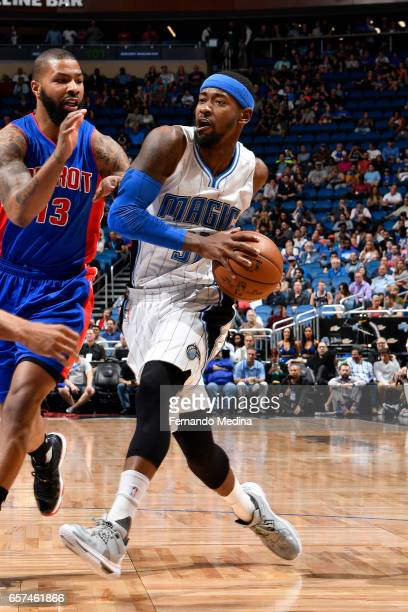 Terrence Ross of the Orlando Magic drives to the basket against the Detroit Pistons on March 24 2017 at Amway Center in Orlando Florida NOTE TO USER...