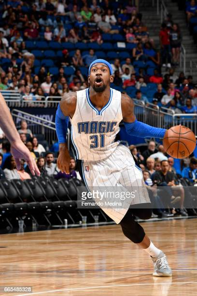 Terrence Ross of the Orlando Magic drives to the basket against the Brooklyn Nets during the game on April 6 2017 at Amway Center in Orlando Florida...