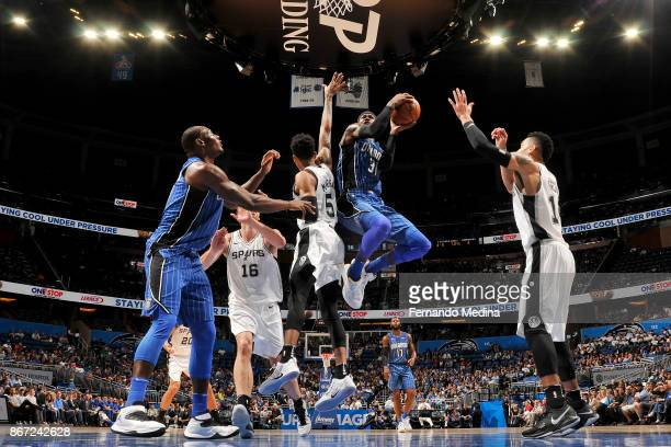 Terrence Ross of the Orlando Magic drives to the basket against the San Antonio Spurs on October 27 2017 at Amway Center in Orlando Florida NOTE TO...