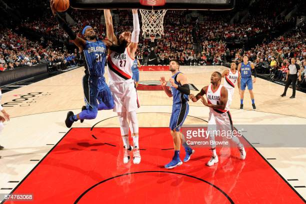 Terrence Ross of the Orlando Magic goes for a lay up against the Portland Trail Blazers on November 15 2017 at the Moda Center in Portland Oregon...