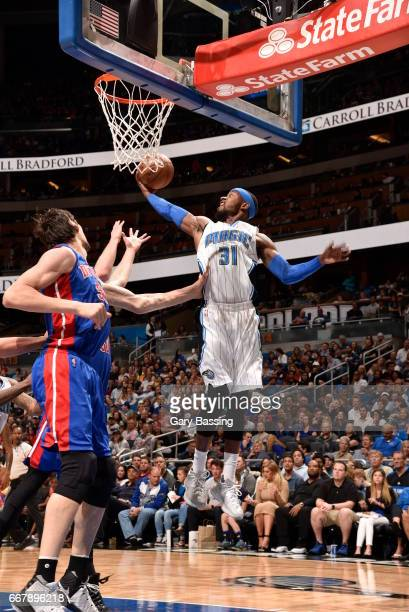 Terrence Ross of the Orlando Magic grabs the rebound against the Detroit Pistons on April 12 2017 at the Amway Center in Orlando Florida NOTE TO USER...