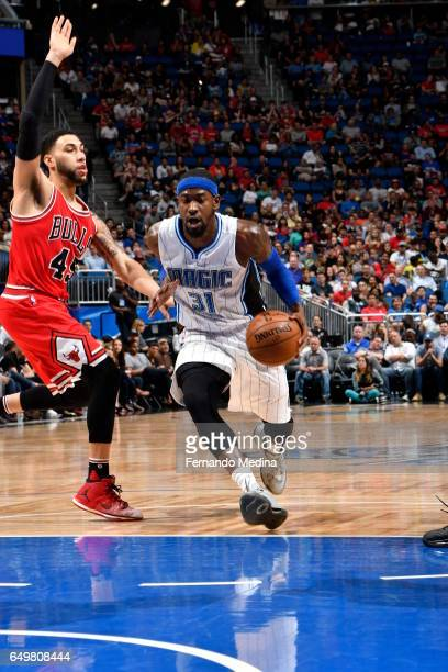 Terrence Ross of the Orlando Magic handles the ball against the Chicago Bulls on March 8 2017 at Amway Center in Orlando Florida NOTE TO USER User...