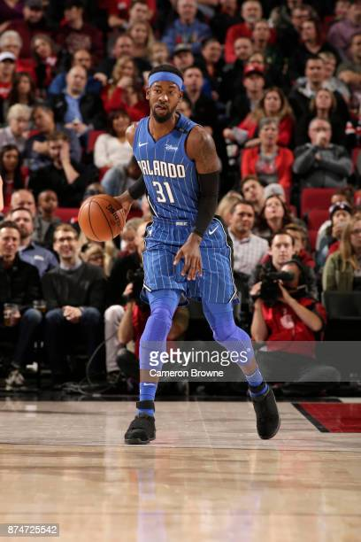 Terrence Ross of the Orlando Magic handles the ball against the Portland Trail Blazers on November 15 2017 at the Moda Center in Portland Oregon NOTE...