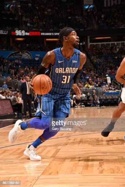 Terrence Ross of the Orlando Magic handles the ball against the San Antonio Spurs on October 27 2017 at Amway Center in Orlando Florida NOTE TO USER...