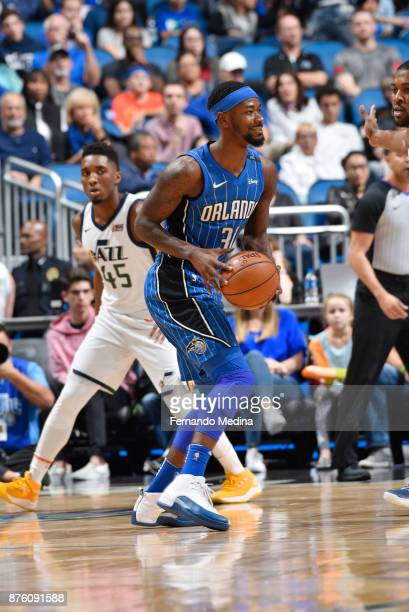 Terrence Ross of the Orlando Magic handles the ball against the Utah Jazz on November 18 2017 at Amway Center in Orlando Florida NOTE TO USER User...
