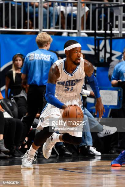 Terrence Ross of the Orlando Magic handles the ball during a game against the New York Knicks on March 1 2017 at Amway Center in Orlando Florida NOTE...