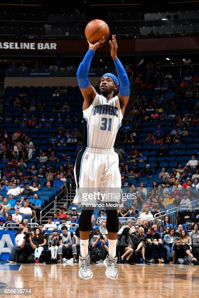 Terrence Ross of the Orlando Magic shoots the ball against the Charlotte Hornets on March 22 2017 at Amway Center in Orlando Florida NOTE TO USER...
