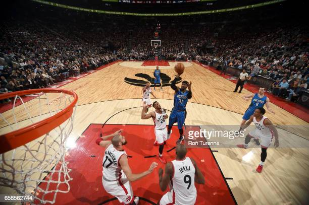 Terrence Ross of the Orlando Magic shoots the ball against the Toronto Raptors on March 27 2017 at the Air Canada Centre in Toronto Ontario Canada...