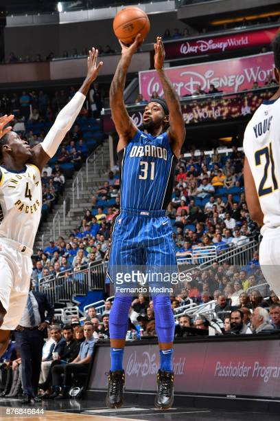Terrence Ross of the Orlando Magic shoots the ball against the Indiana Pacers on November 20 2017 at Amway Center in Orlando Florida NOTE TO USER...