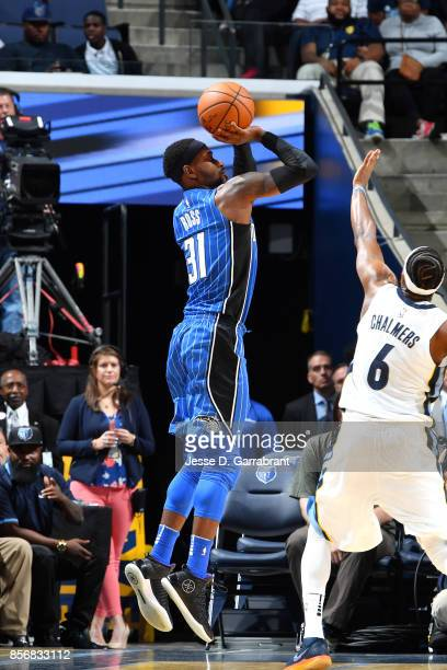 Terrence Ross of the Orlando Magic shoots the ball during the game against the Memphis Grizzlies during a preseason game on October 2 2017 at...