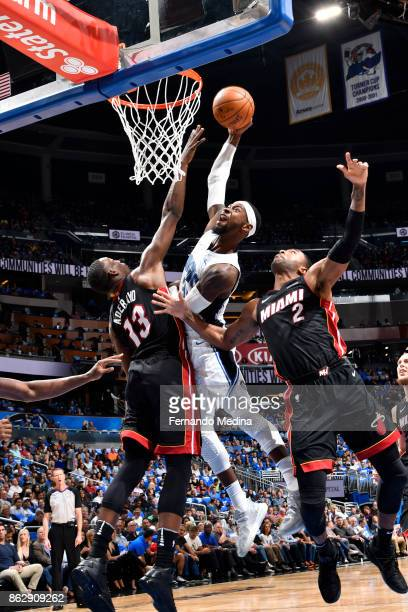 Terrence Ross of the Orlando Magic shoots the ball during the game against the Miami Heat on October 18 2017 at Amway Center in Orlando Florida NOTE...
