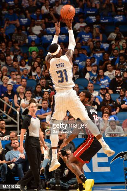 Terrence Ross of the Orlando Magic shoots the ball during the game against the Miami Heat on October 18 2017 at the Amway Center in Orlando Florida...