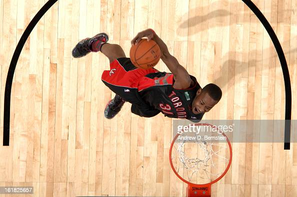 Terrence Ross of the Toronto Raptors attempts a dunk during the 2013 Sprite Slam Dunk Contest on State Farm AllStar Saturday Night as part of 2013...