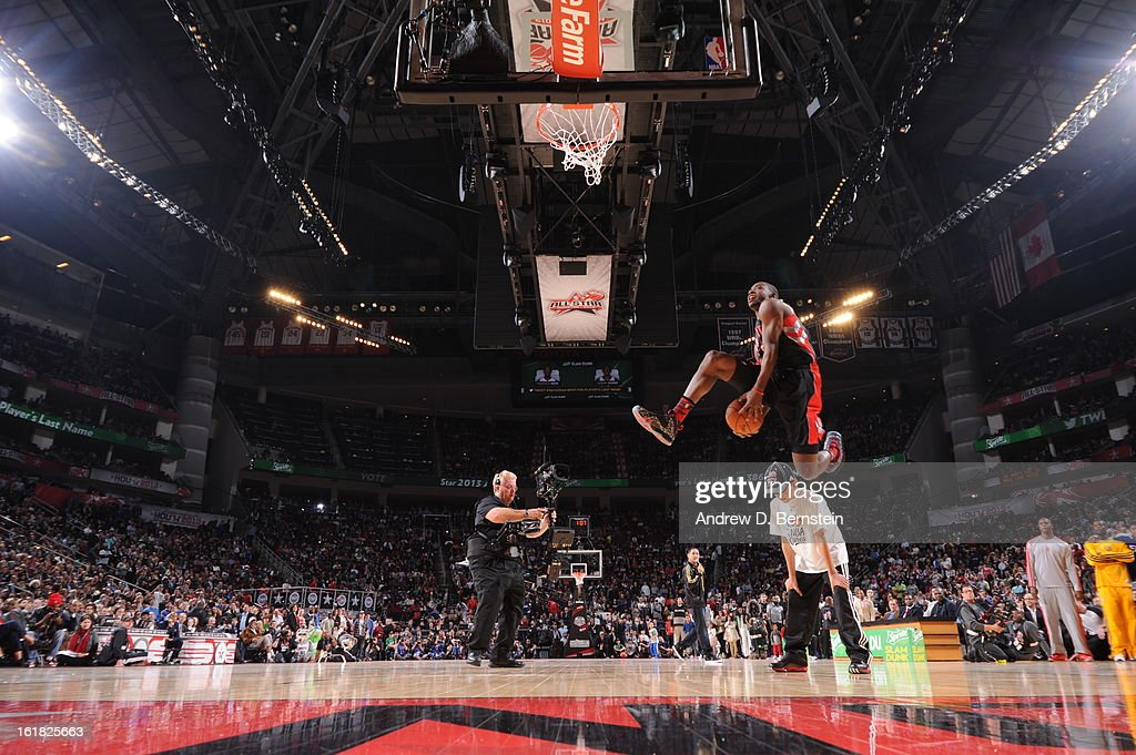 Terrence Ross #31 of the Toronto Raptors attempts a dunk during the 2013 Sprite Slam Dunk Contest on State Farm All-Star Saturday Night as part of 2013 NBA All-Star Weekend on February 16, 2013 at Toyota Center in Houston, Texas.