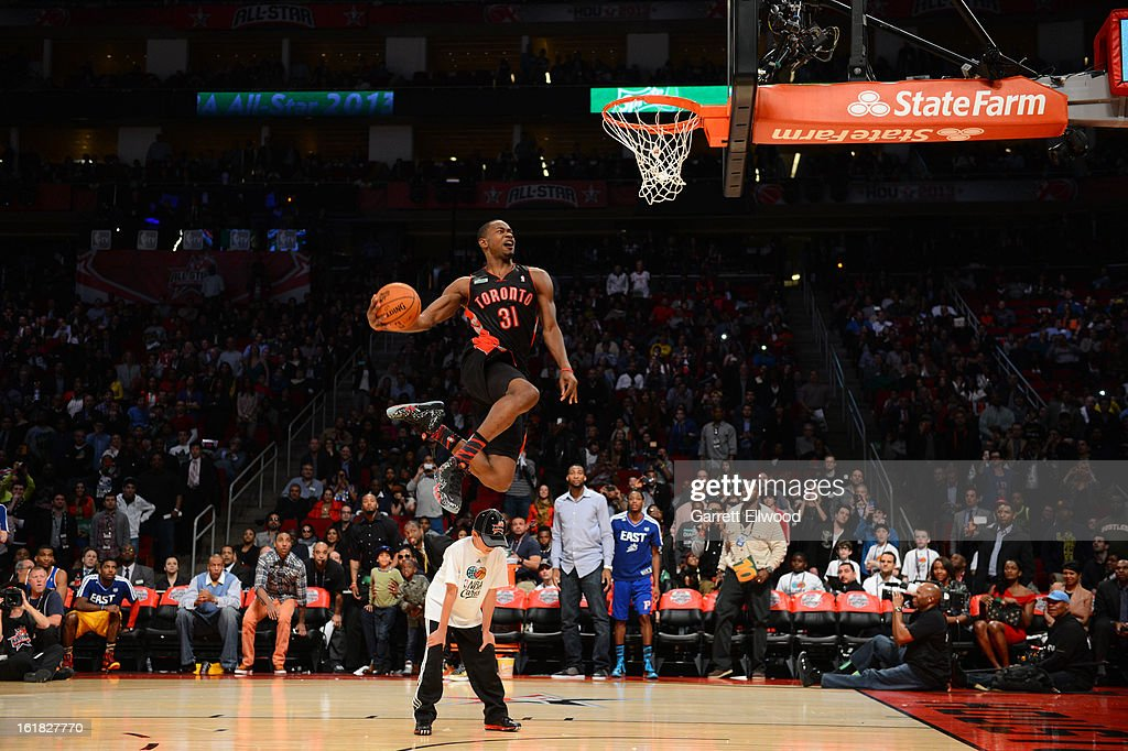 Terrence Ross #31 of the Toronto Raptors attempts a dunk during the Sprite Slam Dunk Contest on State Farm All-Star Saturday Night during NBA All Star Weekend on February 16, 2013 at the Toyota Center in Houston, Texas.