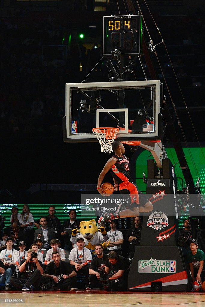 Terrence Ross of the Toronto Raptors attempts a dunk during the Sprite Slam Dunk Contest on State Farm All-Star Saturday Night during NBA All Star Weekend on February 16, 2013 at the Toyota Center in Houston, Texas.