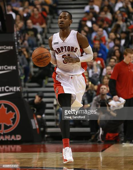Terrence Ross of the Toronto Raptors brings the ball up court against the Oklahoma City Thunder during their game at Air Canada Centre on November 4...