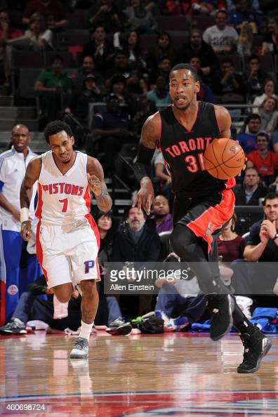 Terrence Ross of the Toronto Raptors brings the ball up court against the Detroit Pistons on December 19 2014 at the Palace of Auburn Hills in Auburn...