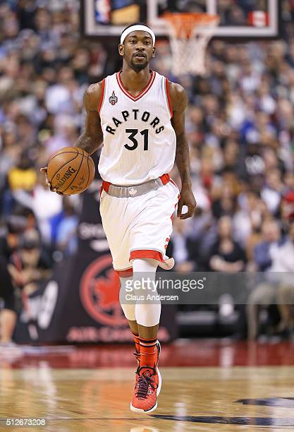 Terrence Ross of the Toronto Raptors brings the ball up court against the Cleveland Cavaliers during an NBA game at the Air Canada Centre on February...