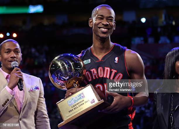 Terrence Ross of the Toronto Raptors celebrates after winning the Sprite Slam Dunk Contest part of 2013 NBA AllStar Weekend at the Toyota Center on...