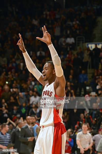 Terrence Ross of the Toronto Raptors celebrates during a game against the Denver Nuggets on December 8 2014 at the Air Canada Centre in Toronto...