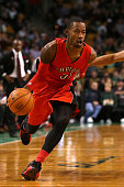 Terrence Ross of the Toronto Raptors controls the ball against the Boston Celtics at TD Garden on November 5 2014 in Boston Massachusetts NOTE TO...