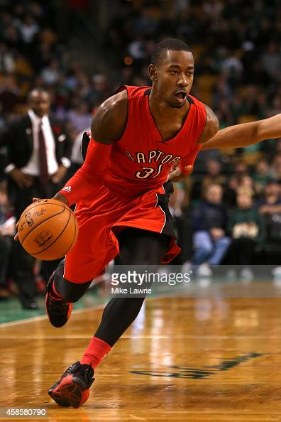Terrence Ross of the Toronto Raptors controls the ball against the Boston Celtics at TD Garden on November 5 2014 in Boston Massachusetts NOTE TO...