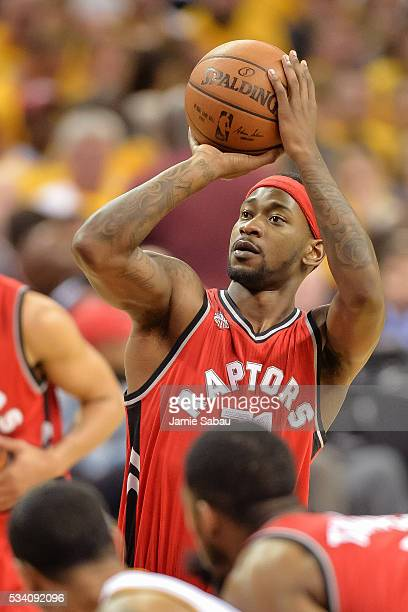 Terrence Ross of the Toronto Raptors controls the ball against the Cleveland Cavaliers during game two of the Eastern Conference Finals on May 19...