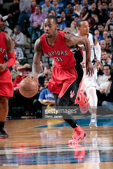 Terrence Ross of the Toronto Raptors drives against the Dallas Mavericks on February 24 2015 at the American Airlines Center in Dallas Texas NOTE TO...