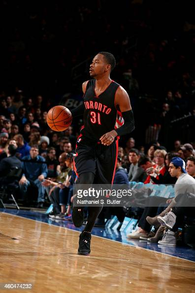 Terrence Ross of the Toronto Raptors drives against the New York Knicks at Madison Square Garden on December 14 2014 in New York City New York NOTE...