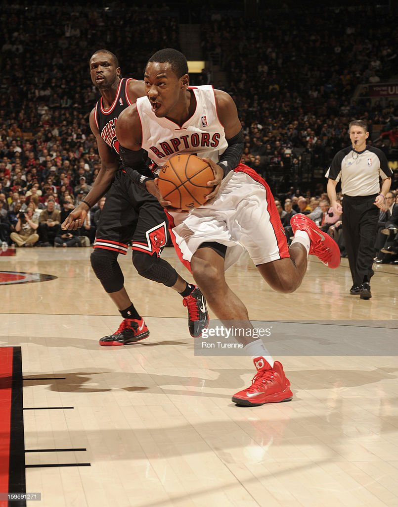 <a gi-track='captionPersonalityLinkClicked' href=/galleries/search?phrase=Terrence+Ross&family=editorial&specificpeople=6781663 ng-click='$event.stopPropagation()'>Terrence Ross</a> #31 of the Toronto Raptors drives the ball during the game between the Toronto Raptors and the Chicago Bulls on January 16, 2013 at the Air Canada Centre in Toronto, Ontario, Canada.