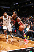 Terrence Ross of the Toronto Raptors drives to the basket against Joe Johnson of the Brooklyn Netsduring the game on January 30 2015 at Barclays...
