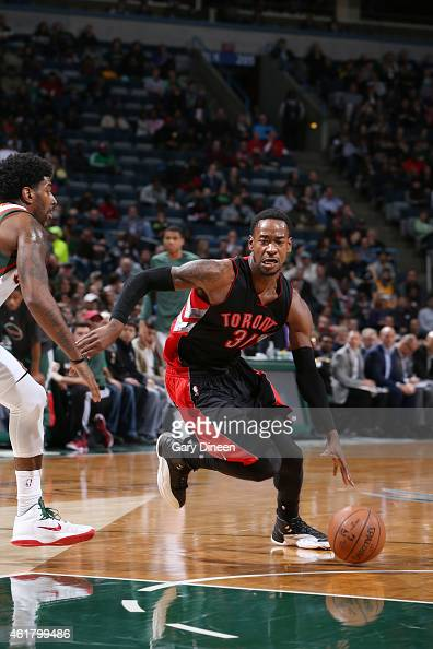 Terrence Ross of the Toronto Raptors drives to the basket against the Milwaukee Bucks during the game on January 19 2015 at BMO Harris Bradley Center...