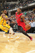 Terrence Ross of the Toronto Raptors drives to the basket against the Indiana Pacers during the game on March 16 2015 at Bankers Life Fieldhouse in...
