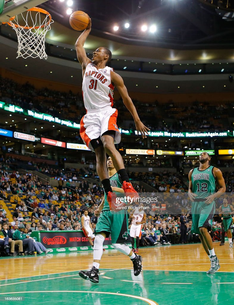 Terrence Ross #31 of the Toronto Raptors dunks against the Boston Celtics during the game on March 13, 2013 at TD Garden in Boston, Massachusetts.