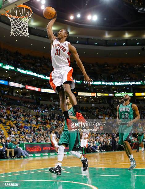 Terrence Ross of the Toronto Raptors dunks against the Boston Celtics during the game on March 13 2013 at TD Garden in Boston Massachusetts NOTE TO...