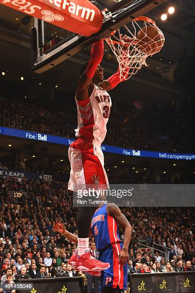 Terrence Ross of the Toronto Raptors dunks against the Detrot Pistons on January 12 2015 at the Air Canada Centre in Toronto Ontario Canada NOTE TO...