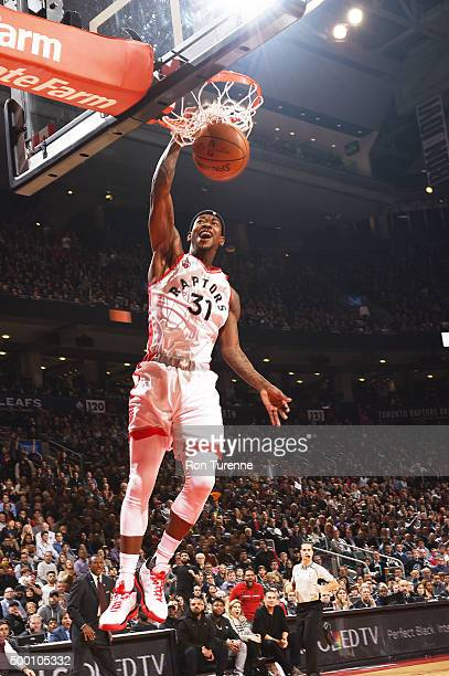 Terrence Ross of the Toronto Raptors dunks against the Golden State Warriors on December 5 2015 at the Air Canada Centre in Toronto Ontario Canada...
