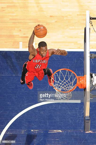Terrence Ross of the Toronto Raptors dunks against the Indiana Pacers during the game on March 16 2015 at Bankers Life Fieldhouse in Indianapolis...