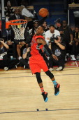 Terrence Ross of the Toronto Raptors dunks during the Sprite Slam Dunk Contest on State Farm AllStar Saturday Night as part of the 2014 AllStar...