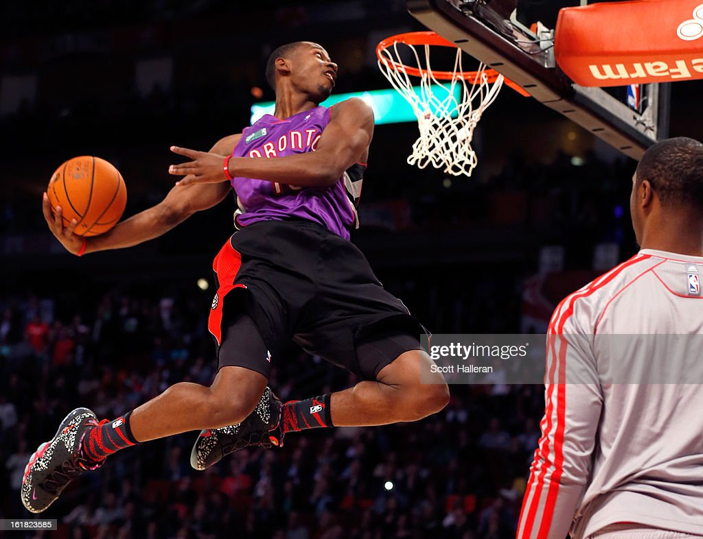 Terrence Ross of the Toronto Raptors dunks the ball after a pass from teammate Terrence Jones during the Sprite Slam Dunk Contest part of 2013 NBA All-Star Weekend at the Toyota Center on February 16, 2013 in Houston, Texas.