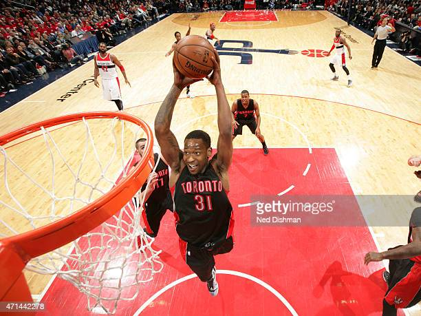 Terrence Ross of the Toronto Raptors dunks the ball against the Washington Wizards in Game Three of the Eastern Conference Quarterfinals during the...