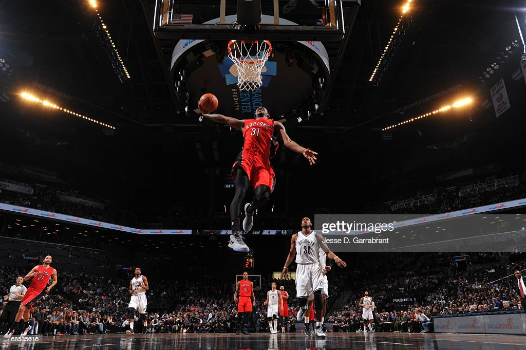 Terrence Ross #31 of the Toronto Raptors dunks the ball against the Brooklyn Nets at Barclays Center on April 3, 2015 in Brooklyn, New York