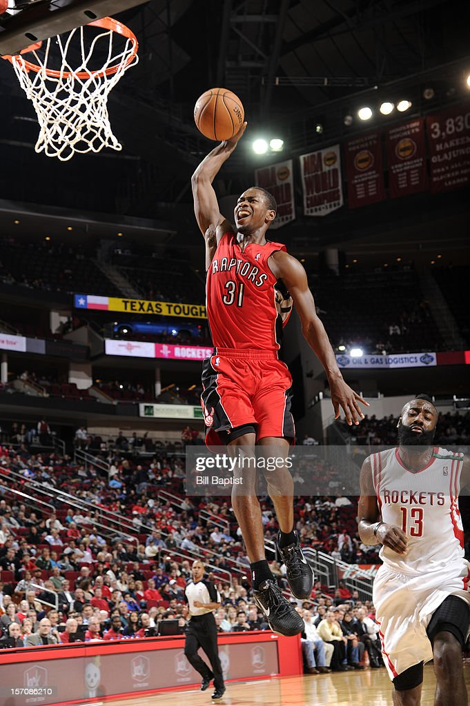 <a gi-track='captionPersonalityLinkClicked' href=/galleries/search?phrase=Terrence+Ross&family=editorial&specificpeople=6781663 ng-click='$event.stopPropagation()'>Terrence Ross</a> #31 of the Toronto Raptors dunks the ball against the Houston Rockets on November 27, 2012 at the Toyota Center in Houston, Texas.